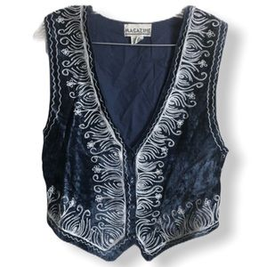 Vintage Magazine Embroidered Velvet Vest